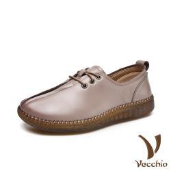 【Vecchio】真皮頭層牛皮手工縫線軟底舒適百搭厚底休閒鞋 杏