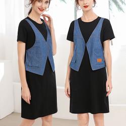 麗質達人 - 28296牛仔拼接假二件洋裝