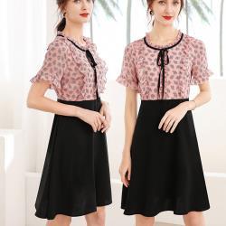麗質達人 - 23311粉色假二件洋裝