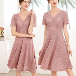 麗質達人 - 23312粉色蕾絲洋裝