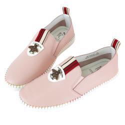 Robinlo經典織帶昆蟲飾扣寬楦頭休閒鞋 KEE-粉色