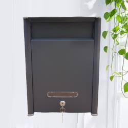 AG024鐵灰砂 粉體塗裝 白鐵304#烤漆 信箱 超小型信件箱意見箱 附二支鑰匙 外投外取 26*35*12cm 台製