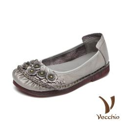 【Vecchio】真皮頭層牛皮立體花朵手工縫線舒適低跟娃娃鞋 灰