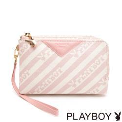 【PLAYBOY】雙層萬用包附手挽帶  粉潮流
