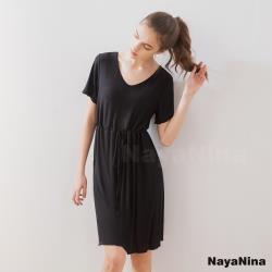 【Naya Nina】顯瘦收腰涼感冰絲柔棉無鋼圈BRA罩杯短袖居家服睡裙(時尚黑)