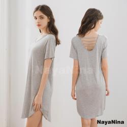 【Naya Nina】輕柔涼感冰絲微露挖背無鋼圈BRA罩杯短袖居家服睡裙(質感灰)