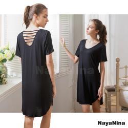 【Naya Nina】輕柔涼感冰絲微露挖背無鋼圈BRA罩杯短袖居家服睡裙(時尚黑)