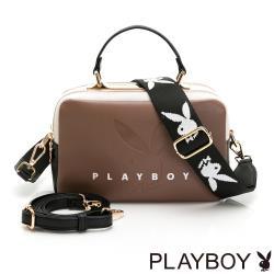 【PLAYBOY】斜背包-附長及寬版背帶  玩色繽紛系列 -濃情咖