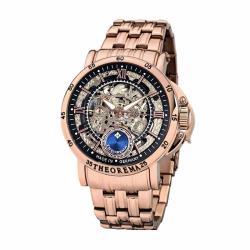 THEOREMA GM-101羅馬數字鏤空機械男士鋼帶手錶 - 玫色 101-12