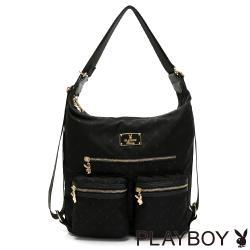 【PLAYBOY】肩背包可後背  溫心系列-黑