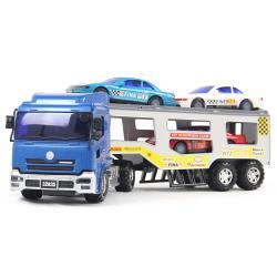 寶盟 仿真磨輪動力車系列-大型拖車(聯結車)加跑車組合