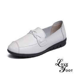 【LOVE FOOT 樂芙】真皮復古小圓頭一字辮帶舒適坡跟休閒鞋 白