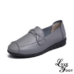 【LOVE FOOT 樂芙】真皮復古小圓頭一字辮帶舒適坡跟休閒鞋 灰