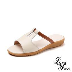 【LOVE FOOT 樂芙】真皮時尚百搭線條縷空造型坡跟拖鞋 米