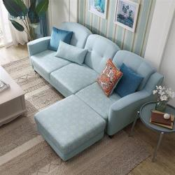 【hoi!】林氏木業簡約小戶仿棉麻多功能兩用沙發床+腳凳附抱枕 RAF1K-天湖藍