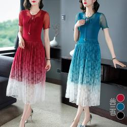 【K.W.韓國】 (預購) 時尚綁帶漸層仙女三宅壓摺洋裝