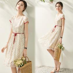 【歐風KEITH-Will 】 (預購) 法式淑女田園綁帶雪紡洋裝
