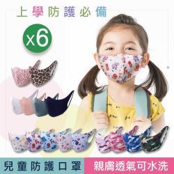 【SK四季口罩】兒童口罩-台灣製/機能面料/親膚透氣/可水洗重複使用/經CNS標準檢測(6包/共12片)