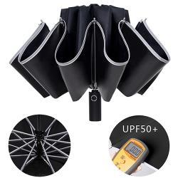 幸福揚邑 抗UV降溫10骨防強風防潑水反光條大傘面全自動UPF50+反向晴雨折疊傘-黑