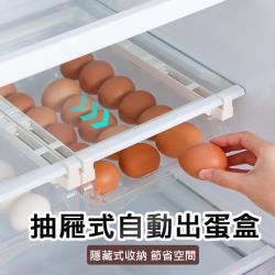 冰箱雞蛋收納盒 抽屜式保鮮雞蛋盒 冰箱蛋滾置物架 自動出蛋