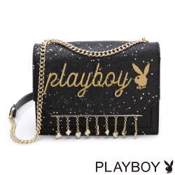 【PLAYBOY】鏈帶斜背包 星空撲克系列-黑