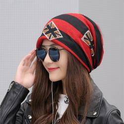 Acorn*橡果-韓系嘻哈拚色包頭帽防風月子帽圍脖1913(紅色)