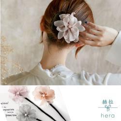 Hera 赫拉  娟紗珍珠花朵花苞頭/丸子頭盤髮髮棒-3色