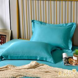 Betrise青石路上 環保印染抗菌天絲素色歐式壓框薄枕套X2