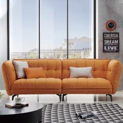 HD 米蘭橘色四人布沙發