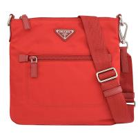 PRADA 1BH716 三角LOGO尼龍帆布皮飾邊斜背扁包.紅