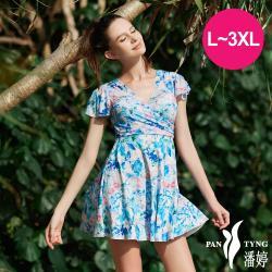 PanTyng潘婷 加大連身裙萊克泳裝 有袖藍天花語(L-3XL)