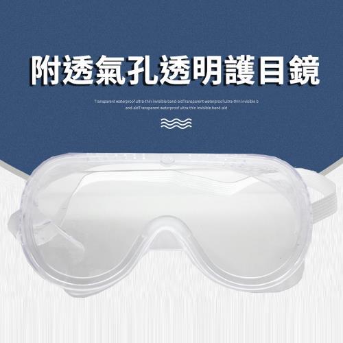 氣孔式軟橡膠防風透明護目鏡(防噴濺防唾沫防沙粒/可內戴眼鏡)-1入/