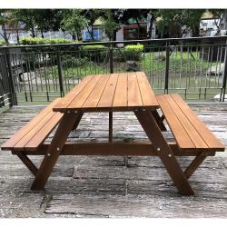 BROTHER兄弟牌5尺黃柏野餐啤酒桌+九尺木柄傘米白及綠色任選+12KG鑄鐵傘座