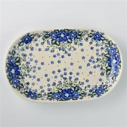 波蘭陶 青花涼夏系列 橢圓盤 27.5x17.5cm 波蘭手工製