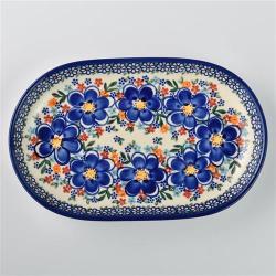 波蘭陶 春遊系列 橢圓盤 27.5x17.5cm 波蘭手工製