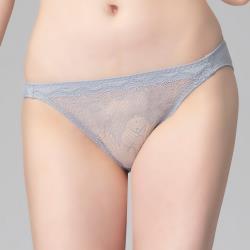 思薇爾 花夜系列M-XL蕾絲低腰三角內褲(飛揚灰)