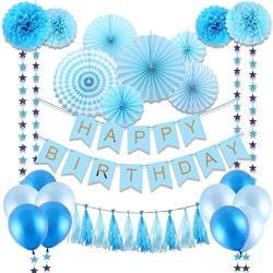 WIDE VIEW 藍色生日佈置紙花扇氣球套組(BL-07)