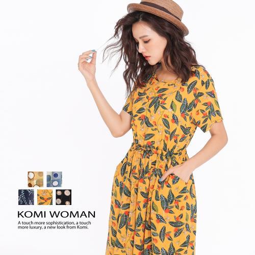 【KOMI】繽紛花朵腰抽繩棉口袋長洋裝‧五色/