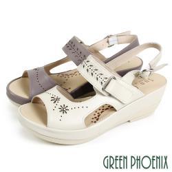 GREEN PHOENIX 雕花金屬釘釦沾黏式全真皮楔型涼鞋U27-20348