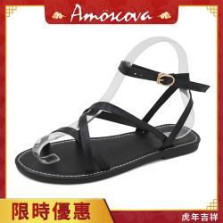 【Amoscova】歐美休閒一字帶羅馬鞋926