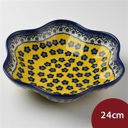 波蘭陶 黃釉青花系列 花型盤 大 24cm 波蘭手工製