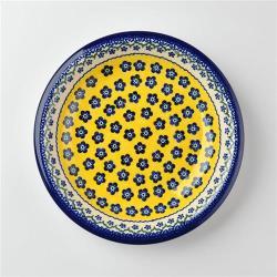 波蘭陶 黃釉青花系列 圓形深餐盤 22cm 波蘭手工製