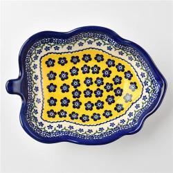 波蘭陶 黃釉青花系列 葉子造型深盤 波蘭手工製