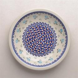 波蘭陶 青藍小花系列 圓形深餐盤 22cm 波蘭手工製