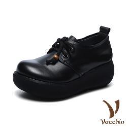 【Vecchio】全真皮頭層牛皮寬楦舒適復古文藝風綁帶造型輕量厚底休閒鞋 黑