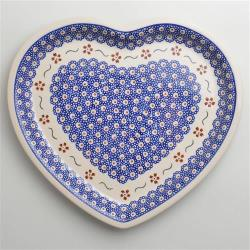 波蘭陶 紅點藍花系列 愛心造型餐盤 波蘭手工製