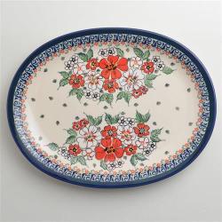 波蘭陶 紅白彩卉系列 橢圓形餐盤 29cm 波蘭手工製