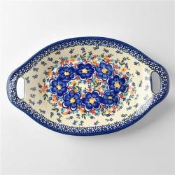 波蘭陶 春遊系列 雙耳長形深餐盤 32.5cm 波蘭手工製