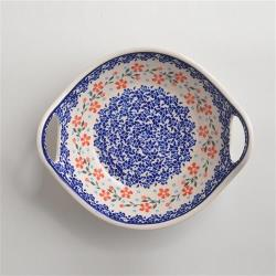 波蘭陶 藍印紅花系列 雙耳圓形深餐盤 22cm 波蘭手工製