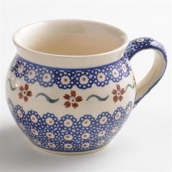 波蘭陶 紅點藍花系列 胖胖杯 320ml 波蘭手工製